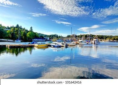 Gig Harbor, WA. Small town downtown marina area.