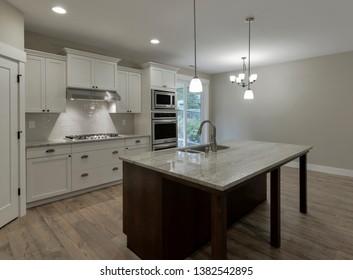 Gig Harbor, WA / USA - April 19, 2019: Modern kitchen interior