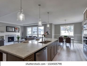 Gig Harbor, WA / USA - Feb. 24, 2019: Luxury kitchen, living room, and dining room interior