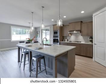Gig Harbor, WA / USA - Feb. 24, 2019: Luxury kitchen interior