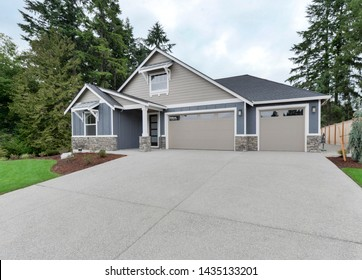 Gig Harbor, WA / USA - June 23, 2019: Residential front exterior