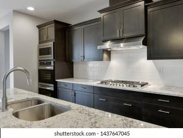 Gig Harbor, WA / USA - June 23, 2019: Modern kitchen interior