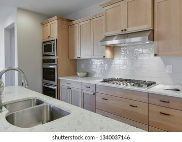 Gig Harbor, WA / USA - March 10, 2019: Luxury kitchen interior