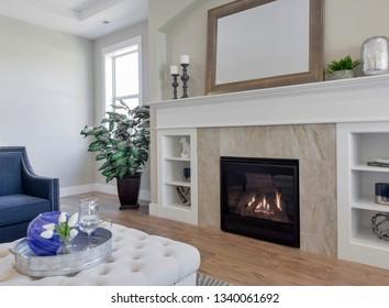 Gig Harbor, WA / USA - March 10, 2019: Luxury living room interior