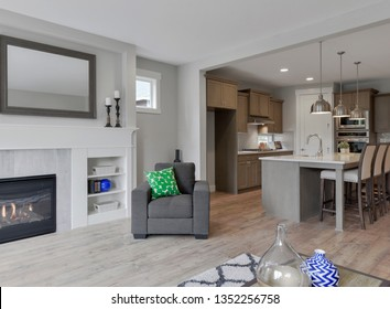 Gig Harbor, WA / USA - March 23, 2019: Luxury living room and kitchen interior
