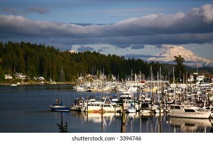 Gig Harbor, Washington with View of Mt. Rainer