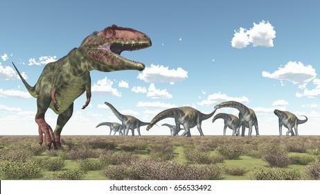 Giganotosaurus and Argentinosaurus Computer generated 3D illustration