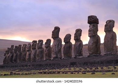 Gigantic 15 Moai statues of Ahu Tongariki against beautiful sunrise cloudy sky, Archaeological site in Easter Island, Chile, South America