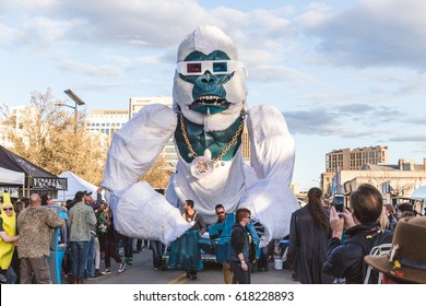Gigantic gorilla parading around a music festival in Boise, Idaho, USA. March 25, 2017.