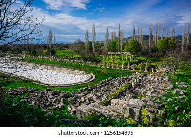 Gigantic Roman swimming pool from Aphrodisias (Afrodisias) Ancient City in Caria, Karacasu, Aydin, Turkey. Aphrodisias was named after Aphrodite, the Greek goddess of love.