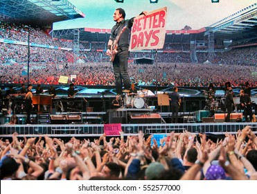 Gijon Asturias, Spain. June 26, 2013. Bruce Springsteen, the Boss, in concert with the E Street Band, in Molinon Stadium. North of Spain