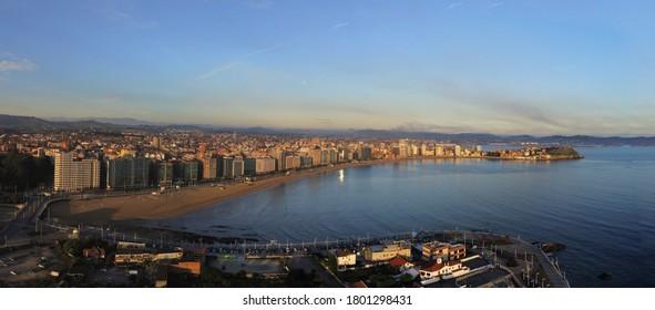 Gijon, beautiful coastal city of Asturias,Spain. Aerial Drone Photo
