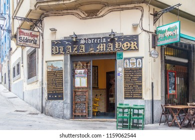 Gijon, Spain - 6th July 2018: The Plaza Mayor Sidreria. The bar sells cider and other drinks