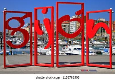 Gijon, Spain - May 23, 2018: Gijon symbol red monument in the centre of Gijon city in Asturias, Spain