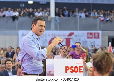 GIJON, SPAIN - MAY 8: Rally of the Spanish Socialist Workers' Party (PSOE) in May 8, 2015 in Gijon, Spain. Pedro Sanchez, General secretary of the Spanish Socialist Party (PSOE) addresses the audience