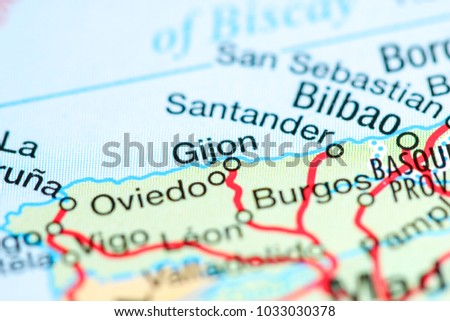Gijon Spain Map.Gijon Spain On Map Stock Photo Edit Now 1033030378 Shutterstock