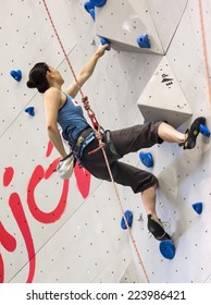 "GIJON, SPAIN Sep 12 2014:  Participants in the "" IFSC World Climbing Gijon 2014""  held in the spanish city of Gijon, from 8 to 14 September, 2014"