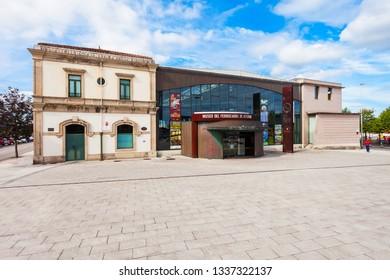 GIJON, SPAIN - SEPTEMBER 25, 2017: The Asturias Gijon Railway Museum or Museo del Ferrocarril de Asturias in Gijon in Asturias, Spain