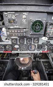 GIJON-SPAIN - JULY 26: F4 Phantom cockpit during exhibition in X AIR FESTIVAL on july 26, 2015 in Gijon,Spain.