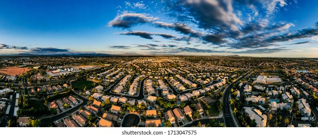 Gilbert, Arizona, aerial panorama. Looking east toward Apache Junction and the Superstition Mountains.