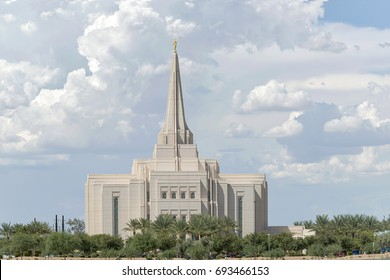 Gilbert, Arizona, USA - August 03, 2017: The Gilbert Arizona Temple is a mormon temple. Faithful Mormons consider temples to be the most sacred places of worship on earth.