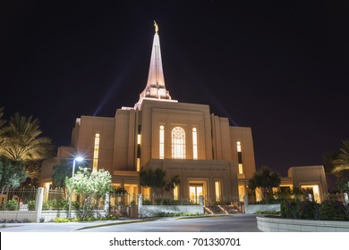 Gilbert, Arizona, USA - August 19, 2017: The Gilbert Arizona Temple in night. It is a mormon temple. Faithful Mormons consider temples to be the most sacred places of worship on earth.