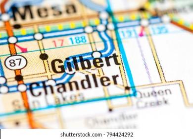 Gilbert. Arizona. USA on a map
