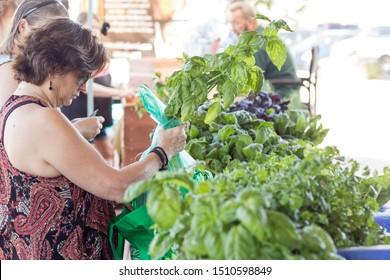 Gilbert, Arizona/ USA - September 21, 2019: customers viewing, inspecting, and purchasing/buying fresh fruits and vegetables at local farmers market
