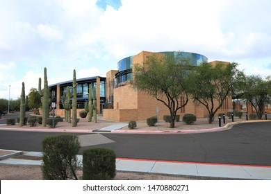 GILBERT, ARIZONA/UNITED STATES- JANUARY 16, 2017: The Gilbert Town Hall in Gilbert, Arizona