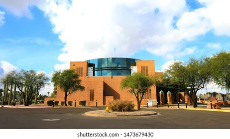 GILBERT, ARIZONA/UNITED STATES- JANUARY 16, 2017: A Wide view of Gilbert Town Hall in Gilbert, Arizona