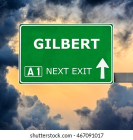 GILBERT road sign against clear blue sky