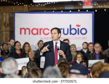 Gilbert, South Carolina - February 15, 2016: Presidential candidate Marco Rubio(R) speaks to an energetic crowd  during his Lexington Town Hall at Harmon's Tree Farm.