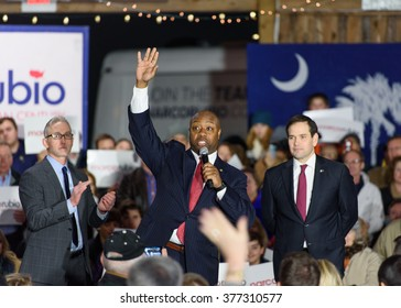 Gilbert, South Carolina - February 15, 2016: Presidential candidate Marco Rubio(R) is introduced to the crowd at Harmon's Tree Farm by Congressman Trey Gowdy and Senator Tim Scott(SC)