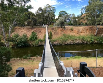 The Gilberton Swing Bridge, crossing the River Torrens in Adelaide, South Australia, as seen from the western end in Gilberton.