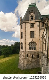 Gilded age of american history. Ancient castle with tower.Architecture deatail.