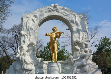 Gilded bronze monument of Johann Strauss in the Viennese City Park, one of the most known and most frequently photographed monuments in Vienna. It was unveiled on 26 June 1921.
