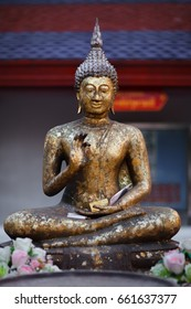 Gilded Buddha, temple statue from Thailand