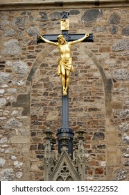 Gilded Crucifix outside the Cathedral of St. Peter and St. Paul, Brno, Czech Republic