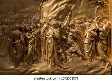 The gilded Porta del Paradiso (The Gates of Paradise), Baptistry of Florence, Tuscany, Italy  September 19th 2018