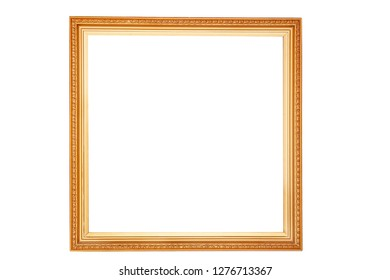 gilded square frame. isolated on white background