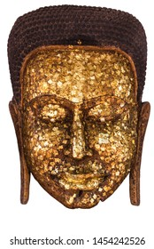 Gilding to cover image Buddha with Shiny yellow leaf gold foil  to face of Buddha statue that Buddhist show to worship at the temple,Thailand with isolated and white background