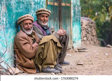 Gilgit, Pakistan - October 2019: elders in traditional clothes