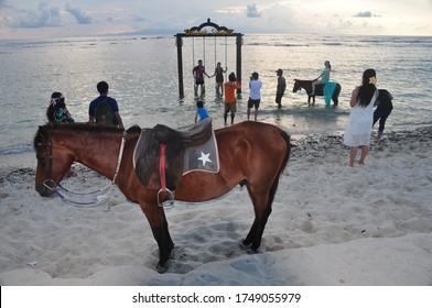 Gili Trawangan Island, Lombok, Indonesia - January 2020: Tourist happy to enjoying the sand, beach, seascape, riding horse, swimming on the beach, and sunbathing in Gili Trawangan Island.