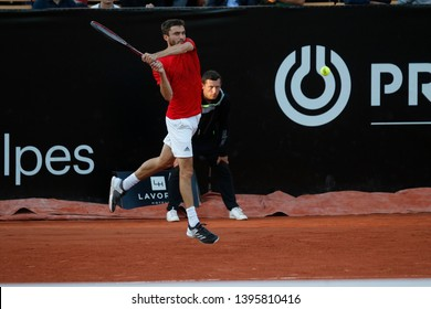 Gilles Simon (FRA) during the Open Parc Auvergne Rhone Alpes Lyon 2018 tennis match round of quarter single on May 24, 2018 in Lyon, France