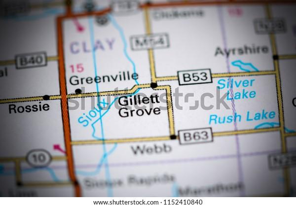 Gillett Grove. Iowa. USA on a map