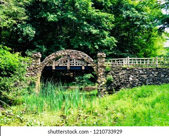 Gillette Castle State Park stone bridge in East Haddam and Lyme, Connecticut in the United States, sitting high above the Connecticut River.