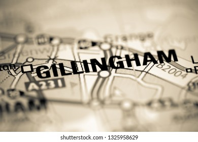 Gillingham. United Kingdom on a geography map
