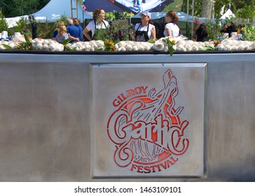 Gilroy, CA - July 27, 2019: Unidentified participants at the 41st annual Garlic Festival, one of the largest annual food festivals in the United States entertaining thousands of visitors annually.