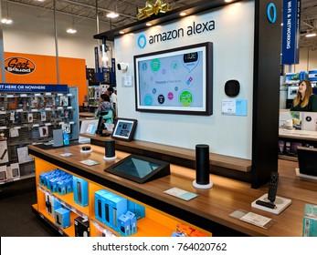 GILROY, CA - NOVEMBER 24, 2017: Amazon Alexa floor display in a Best Buy store on Black Friday, November 24, 2017.