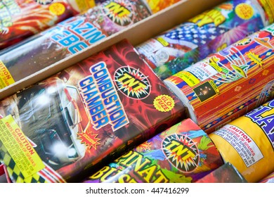 GILROY, CALIFORNIA - JULY 4, 2016: A collection of safe and sane fireworks ready for use in a home fireworks display on July 4, 2016 in Gilroy, California.